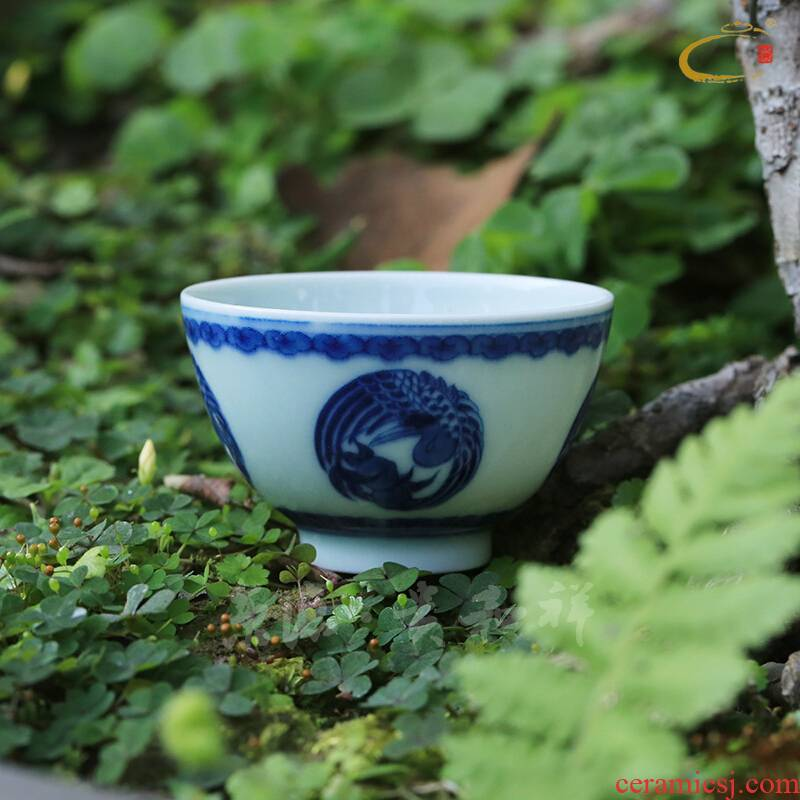 Jing DE and auspicious jingdezhen ceramics by hand personal cup tea cup masters cup blue and white crane, small tea cups