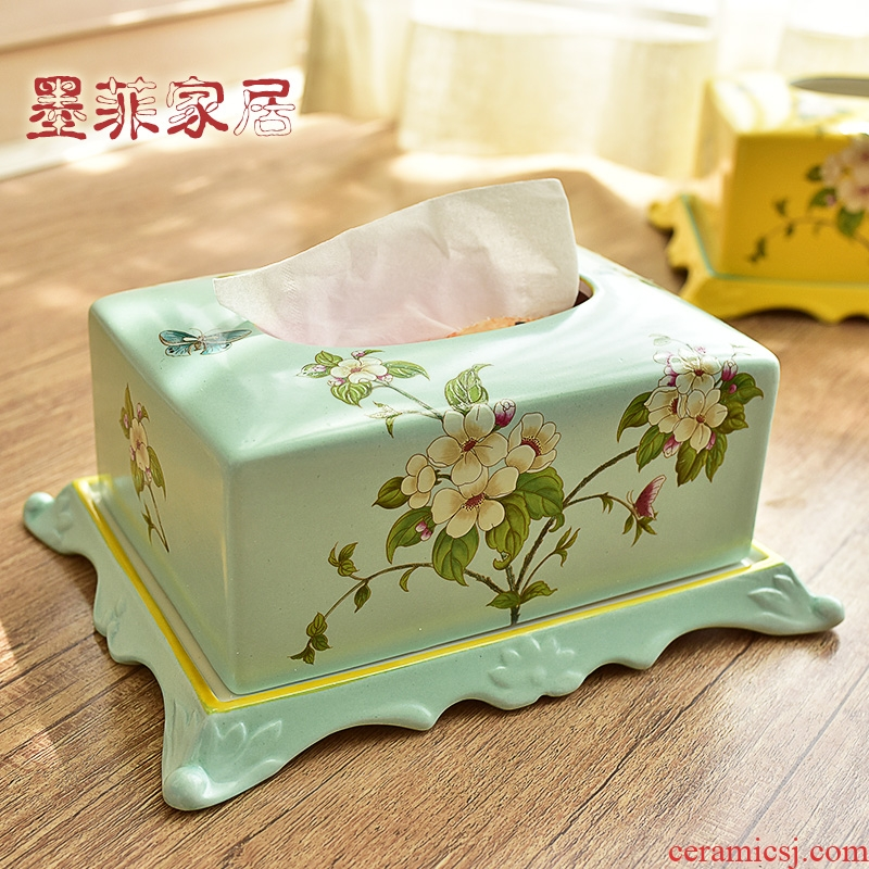 The New Chinese American ceramic tissue box European sitting room tea table restaurant decorated with bedroom the receive carton furnishing articles