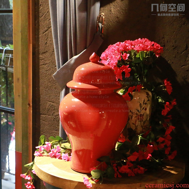 Chinese jingdezhen ceramics storage tank general red pot home process soft adornment sitting room vase furnishing articles