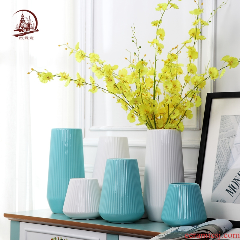 Modern ceramic creative white vase contracted sitting room TV ark of dry flower arranging home decoration furnishing articles