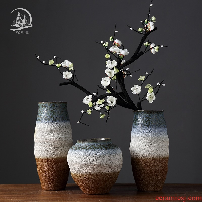 The New Chinese ceramic furnishing articles European living room TV cabinet table vase dried flowers flower arrangement coarse pottery decoration decoration