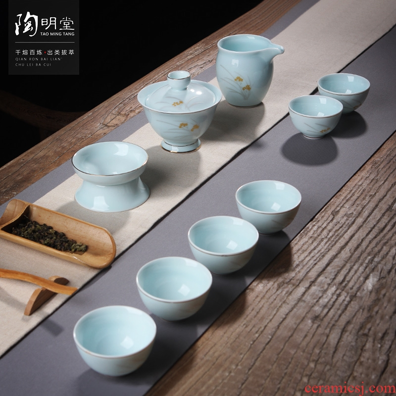 TaoMingTang tea sets ceramic cups kung fu tea set creative paint hand - made teapot tea of a complete set of the home