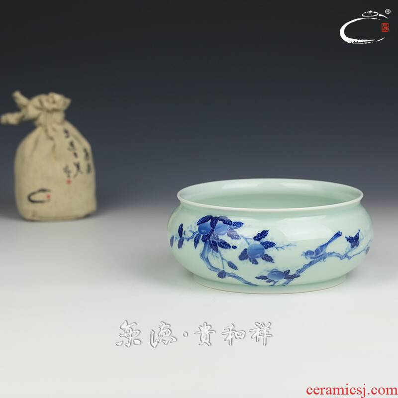 Jing DE and auspicious jingdezhen blue and white kung fu tea tea accessories checking ceramic water wash cup of tea to wash
