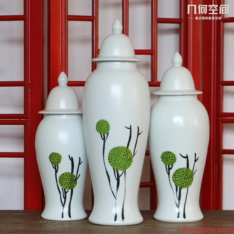 Jingdezhen European - style hand - made white dandelion general ceramic pot three - piece furnishing articles of modern creative household act the role ofing is tasted
