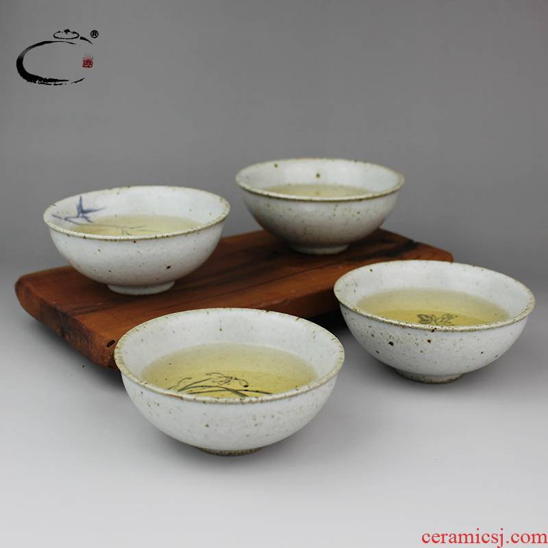 Restoring ancient ways and auspicious jingdezhen coarse pottery cups suit sample tea cup kung fu tea set hand - made by patterns to use cups