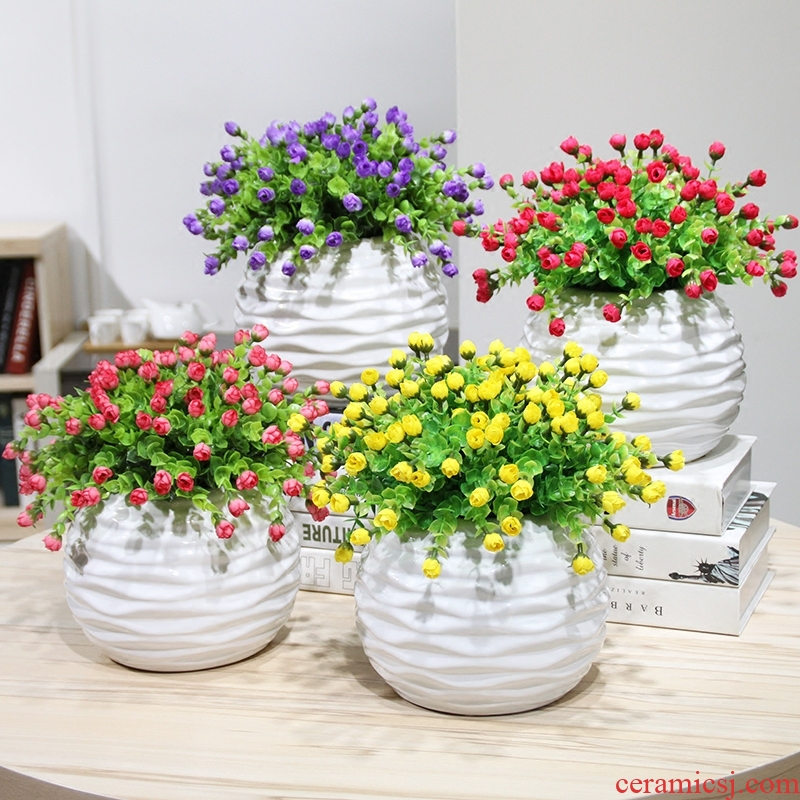 The Send + simulation flower art ceramic flower pot roses eucalyptus flower buds suit household act the role ofing is tasted furnishing articles desktop flower art