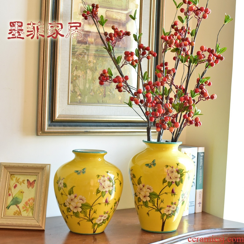 New Chinese style furnishing articles home decoration ceramic creative living room TV cabinet porch ark, antique vase decoration