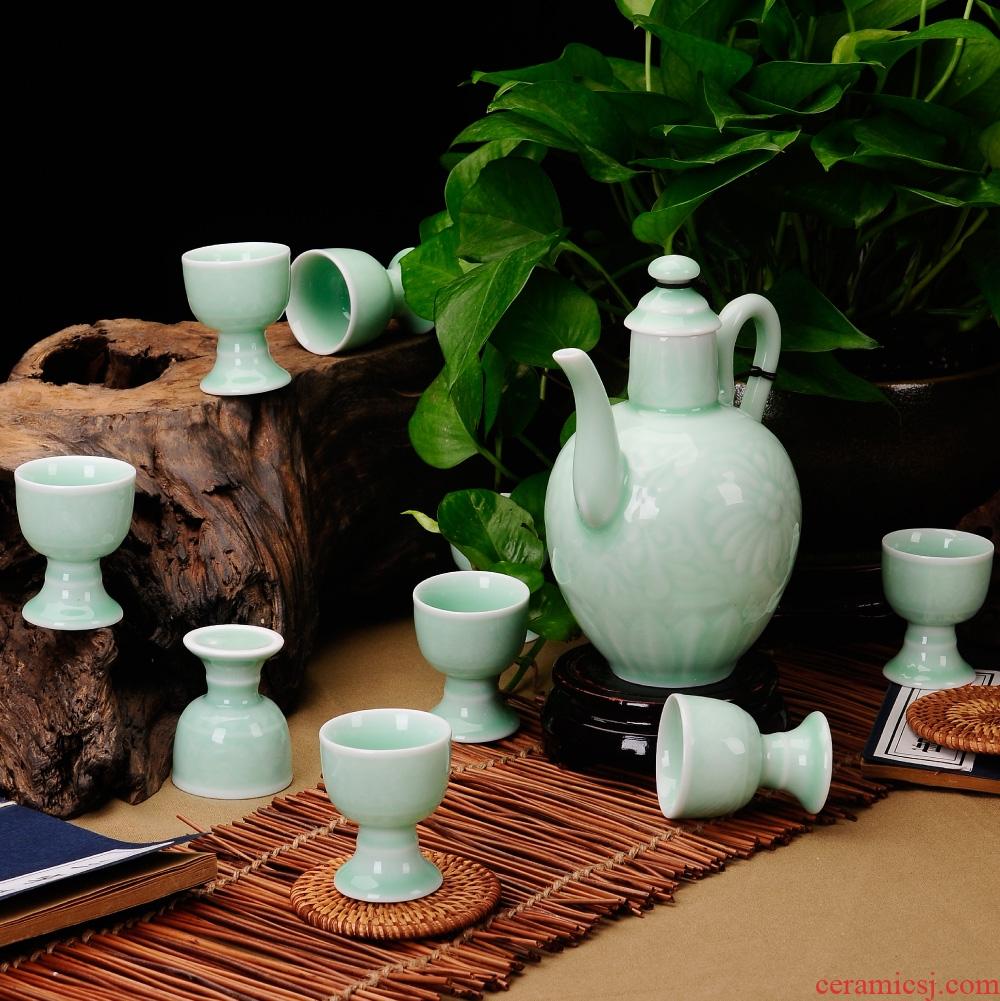 Jingdezhen celadon wine suits for ceramic jar of wine goblet wine set a small handleless wine cup ceramic a small handleless wine cup high