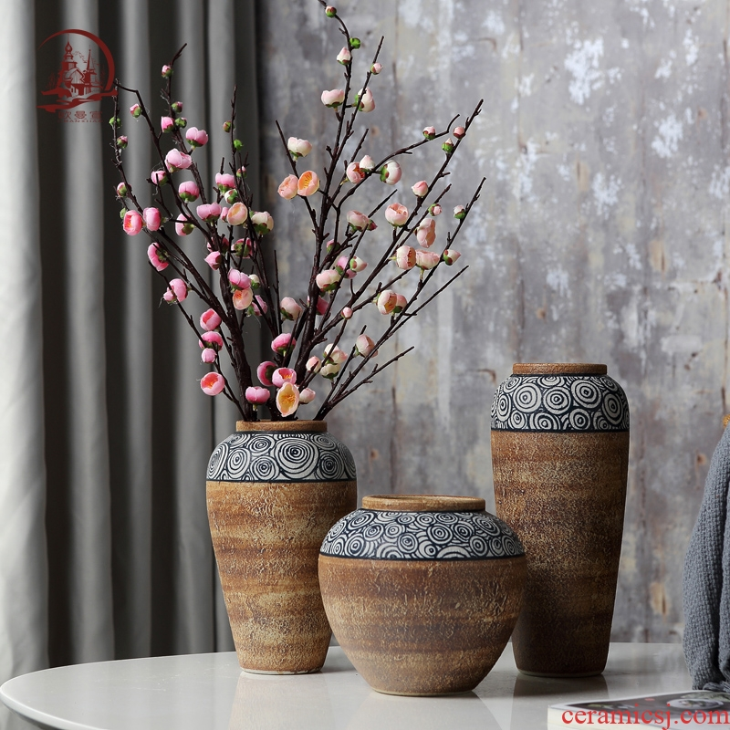 European ceramic vase furnishing articles sitting room TV cabinet table dry flower arranging flowers, creative household soft adornment ornament