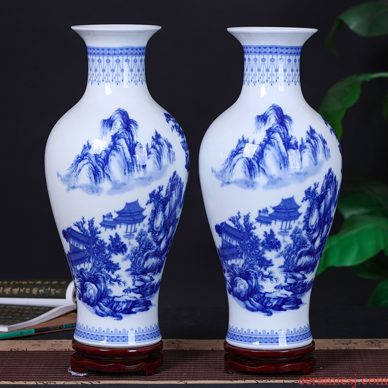Jingdezhen blue and white porcelain vases, pottery and porcelain vase flower flower implement new Chinese style home sitting room adornment is placed