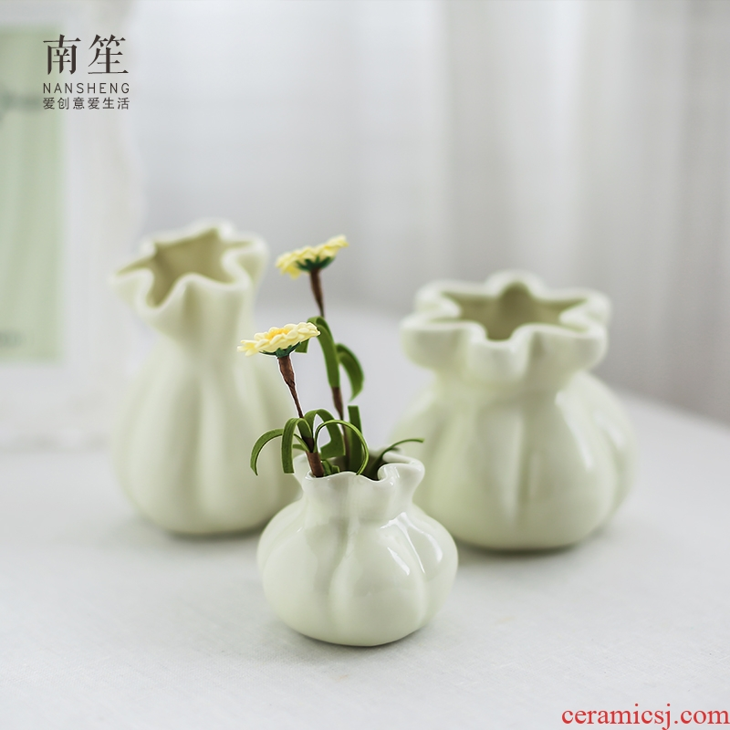 Nan sheng small pure and fresh and contracted hydroponic furnishing articles purse ceramic floret bottle of dry flower arranging flowers creative living room decoration