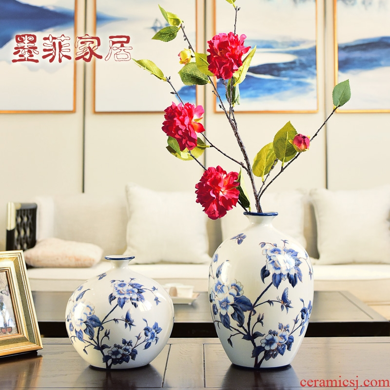 New Chinese style furnishing articles blue and white porcelain ceramic vase flower arranging, TV ark, household table sitting room porch decoration decoration