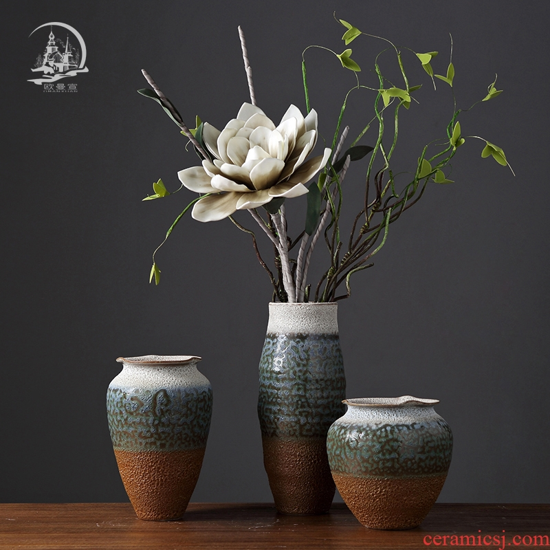 Coarse pottery hydroponic dry flower vase retro ceramic household table porch decoration furnishing articles of TV bar face