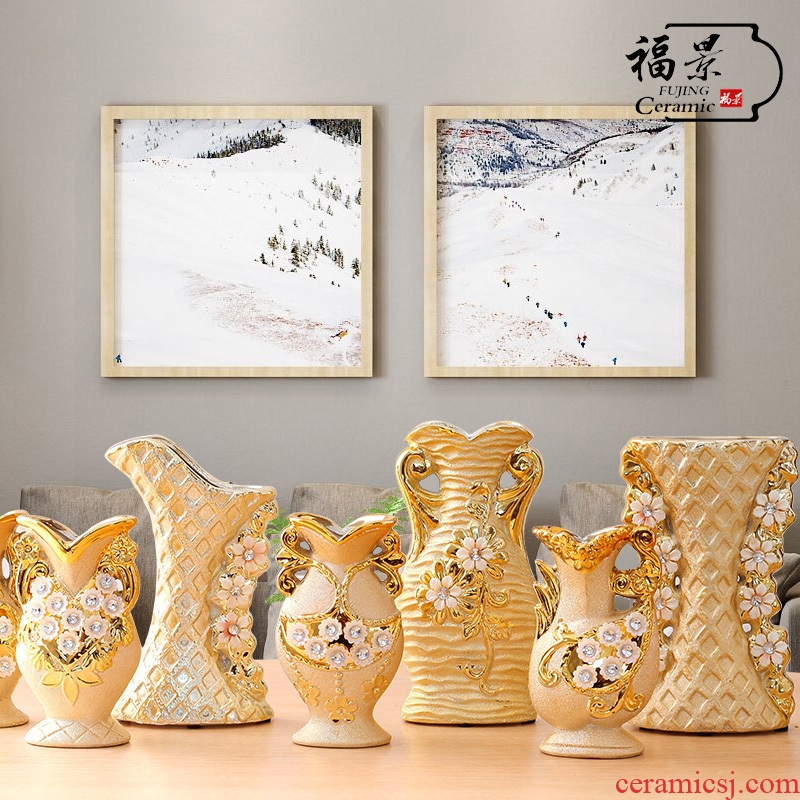 The scene of jingdezhen ceramic European - style floret bottle gold - plated household I sitting room adornment flowers inserted furnishing articles of handicraft