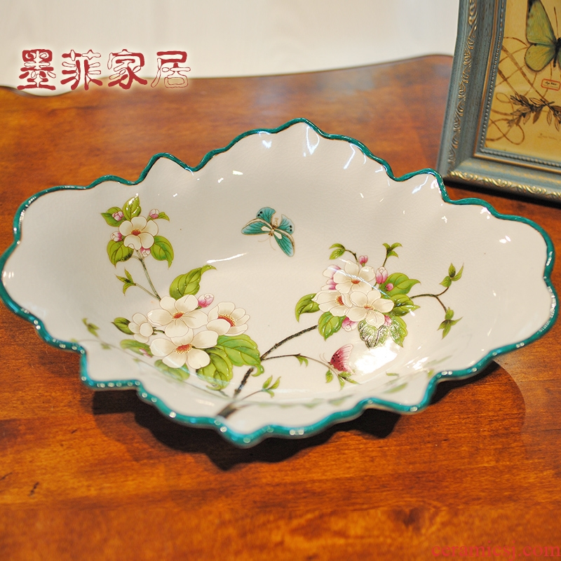 New Chinese style ceramic fruit bowl American large sitting room tea table dry fruit tray was the home key tray decorations furnishing articles