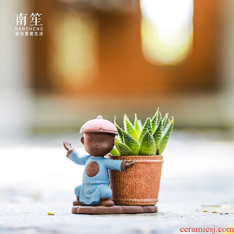Restoring ancient ways south sheng micro landscape, lovely creative move decoration basin exchanger with the ceramics meaty plant flower pot in furnishing articles