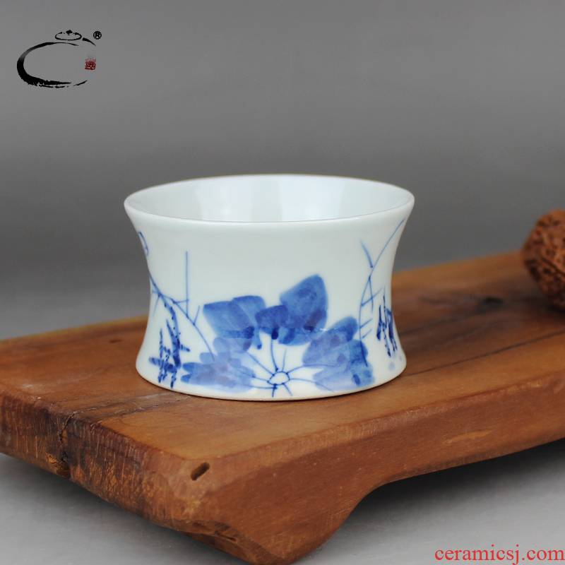 And auspicious blue lotus pond green cup kung fu tea set jingdezhen ceramic cups, small sample tea cup master cup single CPU