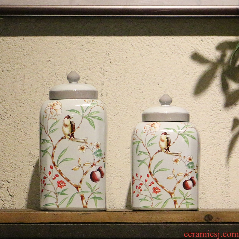 【 preview 】 spring flowers and birds painting party jar of rural wind home decoration ceramic desktop furnishing articles