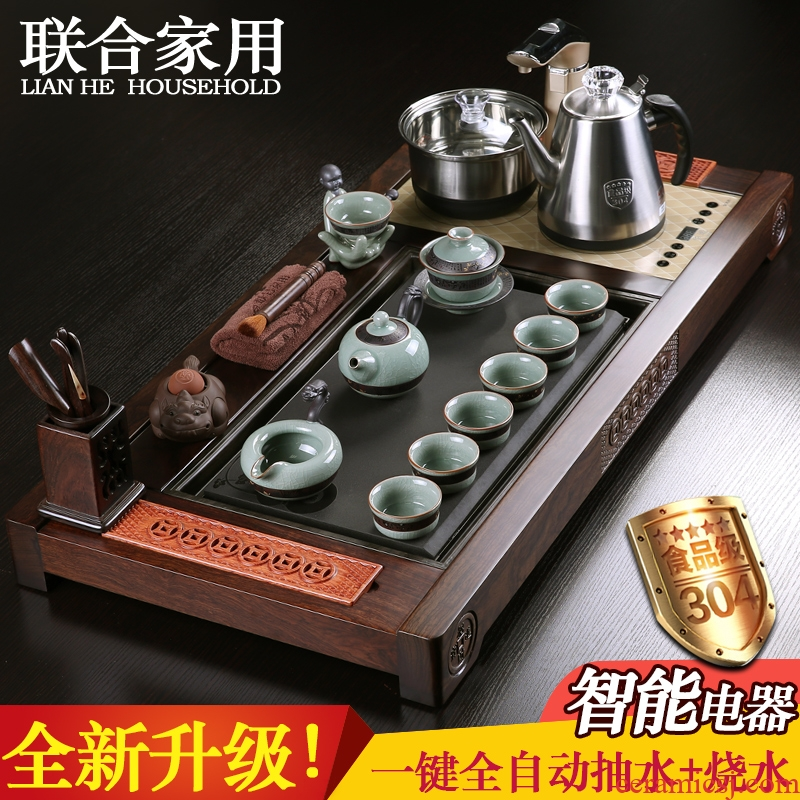 Combined with ebony wood brother sharply stone tea tray ceramic up of a complete set of violet arenaceous kung fu tea set four unity