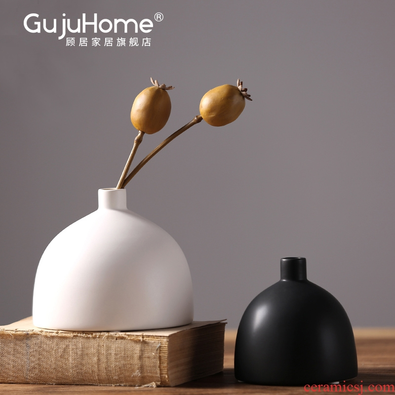I and contracted ceramic vases, north European furnishing articles sitting room table, black and white flower arranging dried flowers, home decoration