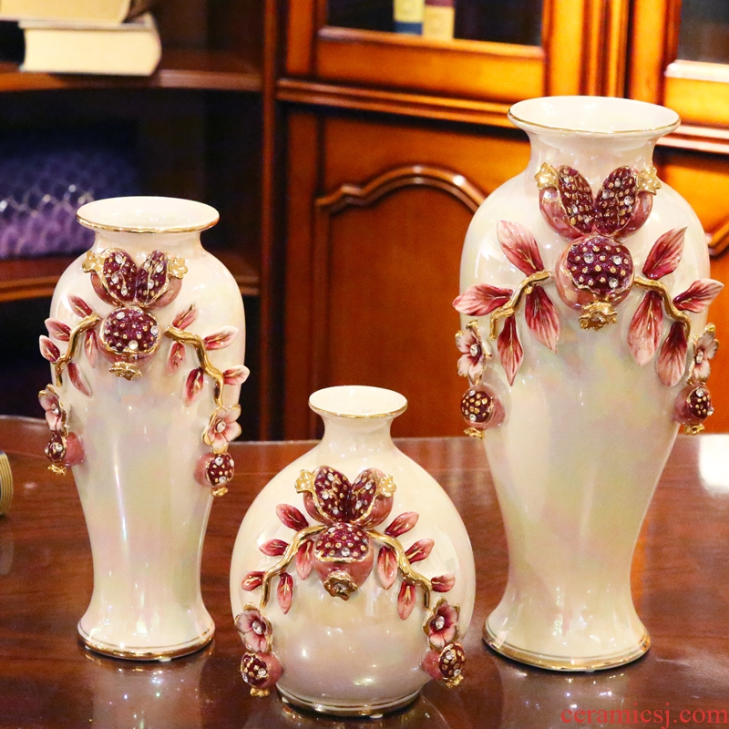 European ceramic vase three - piece sitting room place wedding gift flower arranging flower implement practical household decorations