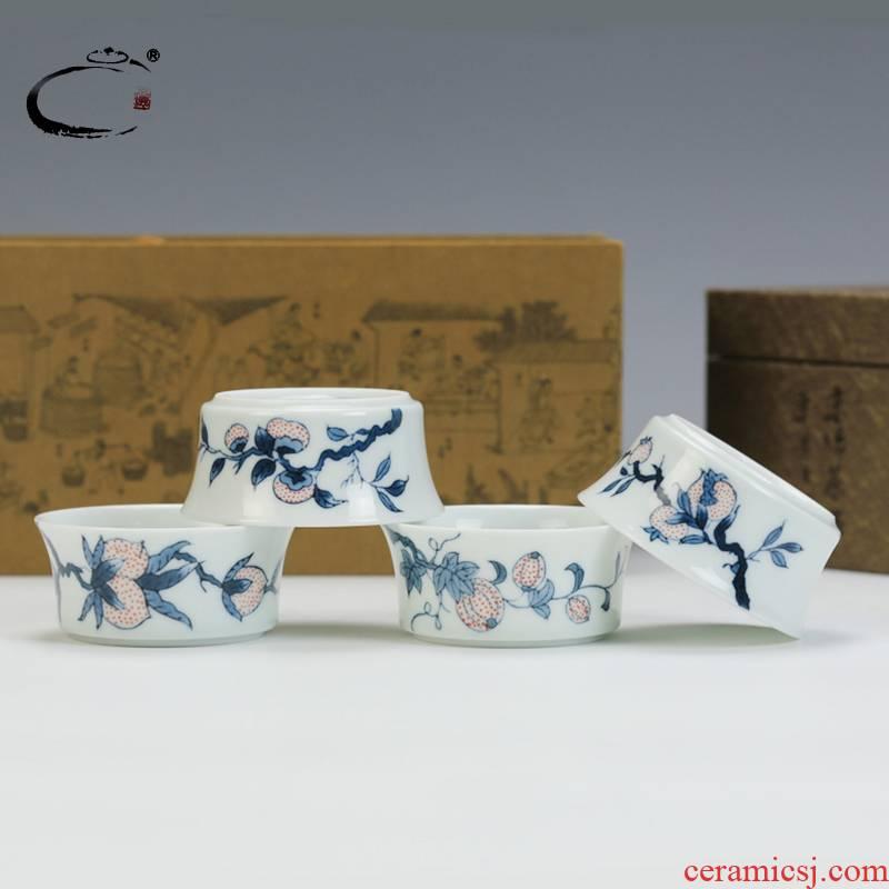 And auspicious youligong HongSi fruit four group suit jingdezhen hand - made kung fu tea cups sample tea cup