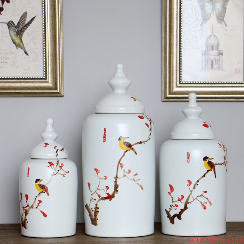 I and contracted fashion matte enrolled white hand painting of flowers and ceramic decorative furnishing articles elegant soft outfit craft ornaments