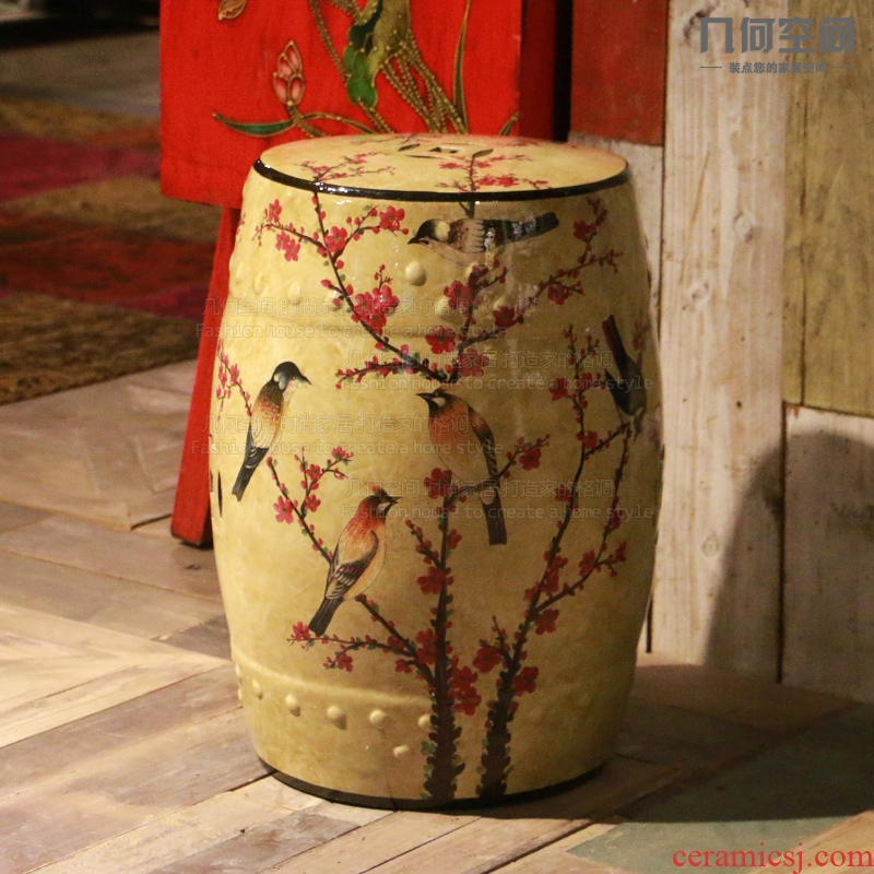 【 】 in the geometry space American country do old name plum flower acacia pottery drum who soft outfit of new Chinese style household furnishing articles