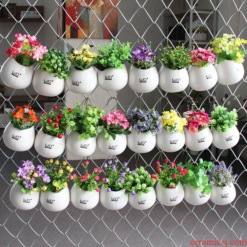 The Send + creative ceramic water infusion bag or bottle hanging vase flowerpot home furnishing articles metope adornment with simulation