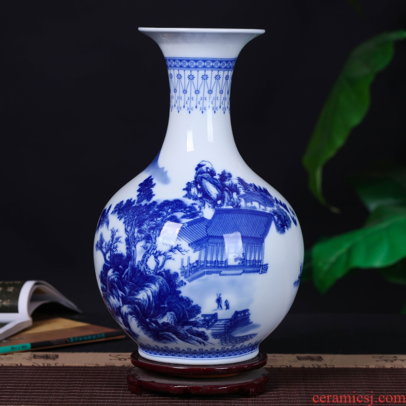 Jingdezhen ceramics antique Chinese flower arranging device of blue and white porcelain vase furnishing articles sitting room home decoration arts and crafts