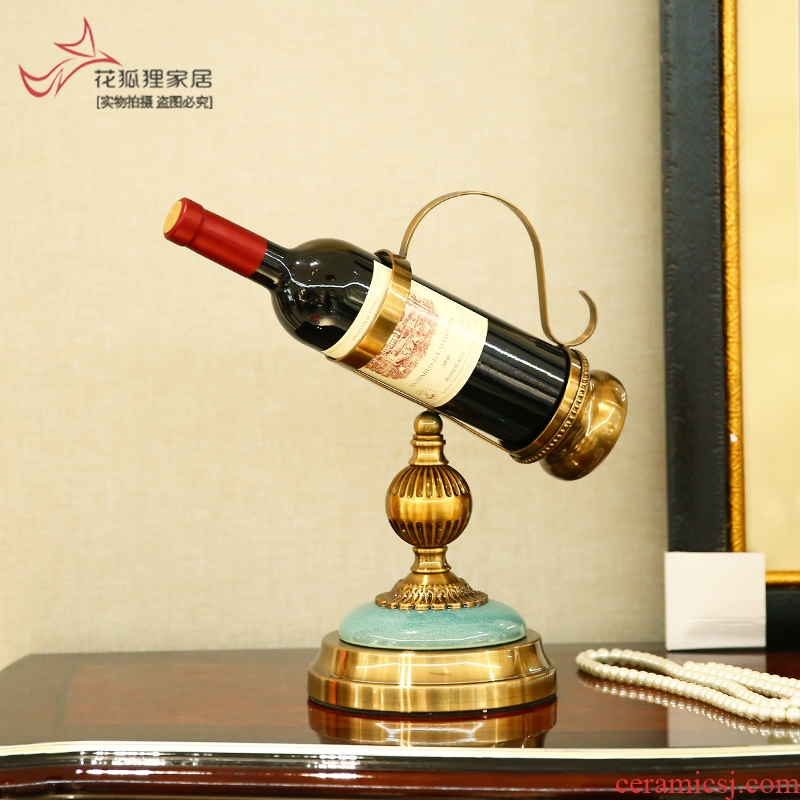 American ceramic plating copper red wine rack adornment wall furnishing articles bar hotel creative move decoration display shelf