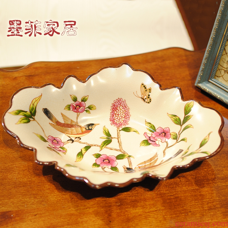 New Chinese style ceramic fruit bowl large tray table furnishing articles American candy dry fruit bowl sitting room tea table decorations