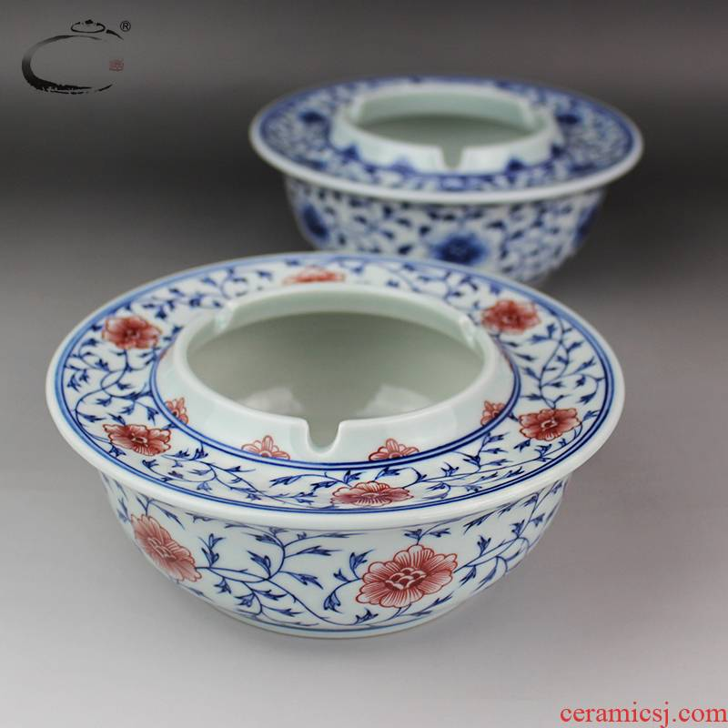 And auspicious fine checking ceramic ashtray jingdezhen porcelain ashtrays large household daily to receive a cylinder