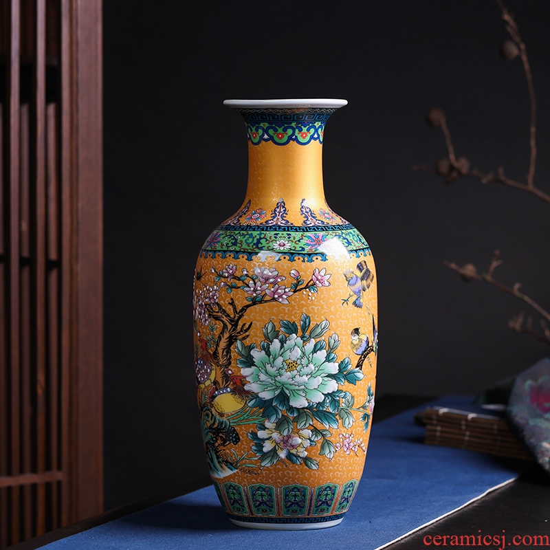 Modern Chinese jingdezhen ceramics sitting room adornment colored enamel of large vases, flower, TV ark, furnishing articles