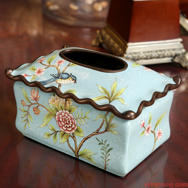 American country tissue box European living room home decoration restoring ancient ways furnishing articles ceramic creative paper napkin box