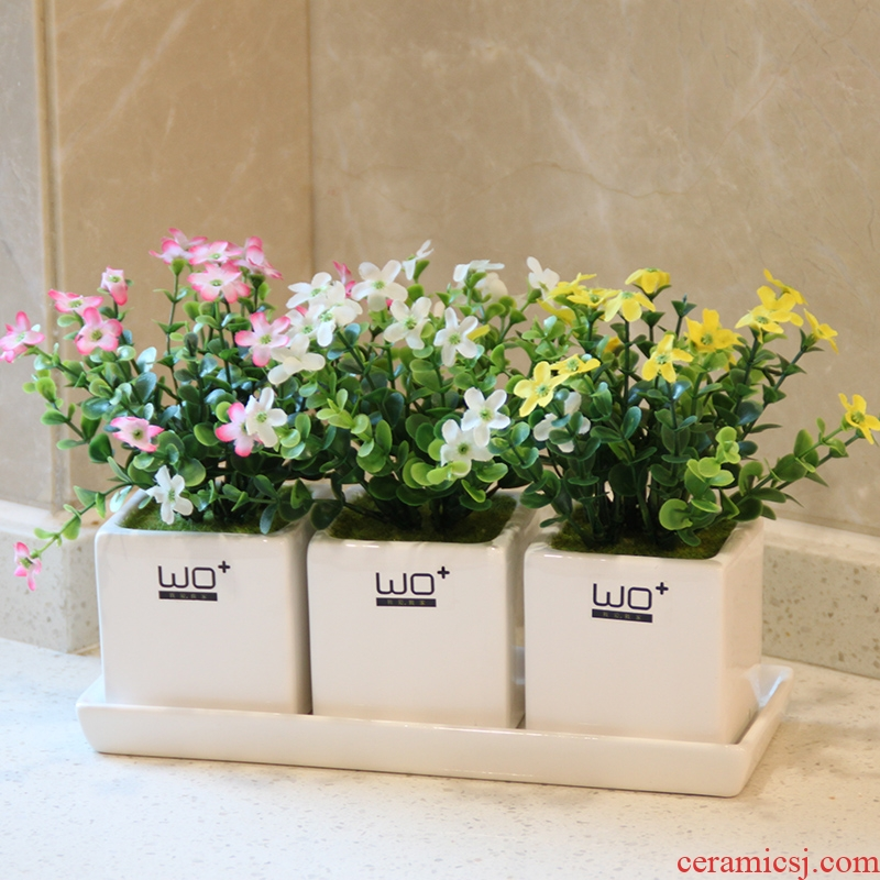 The Send + simulation flower art ceramic green plant set tray with a flower pot three - piece suit I and fashionable adornment flowers furnishing articles