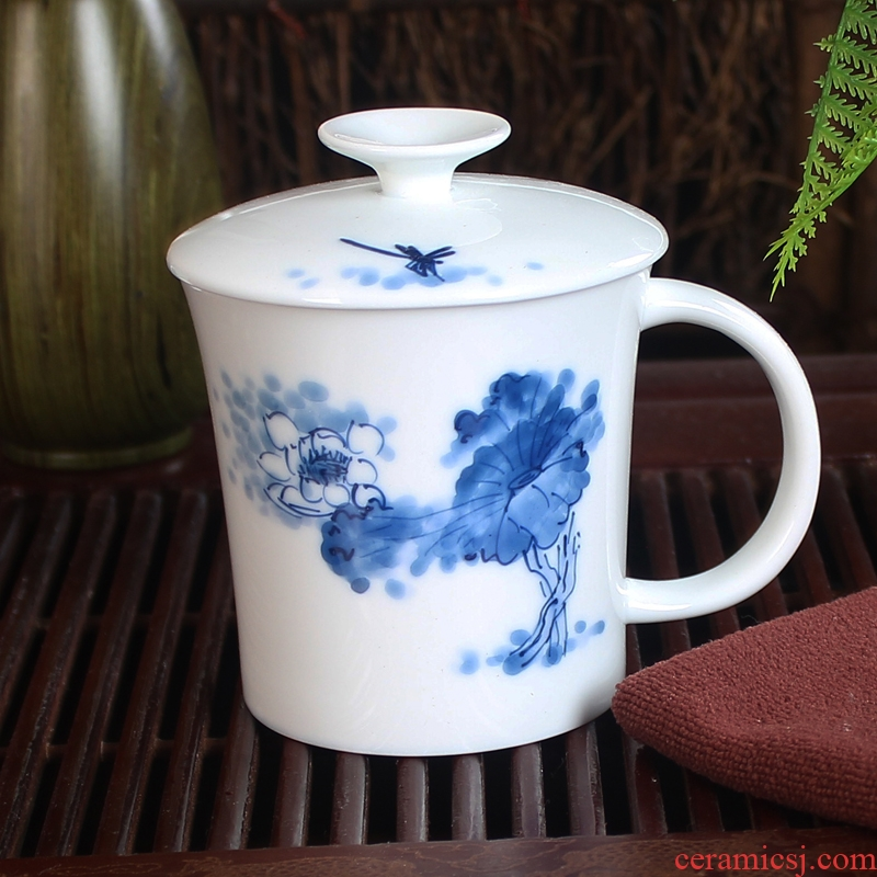 Jingdezhen ceramic cups with cover band filter hand - made tea tea cup office personal cup