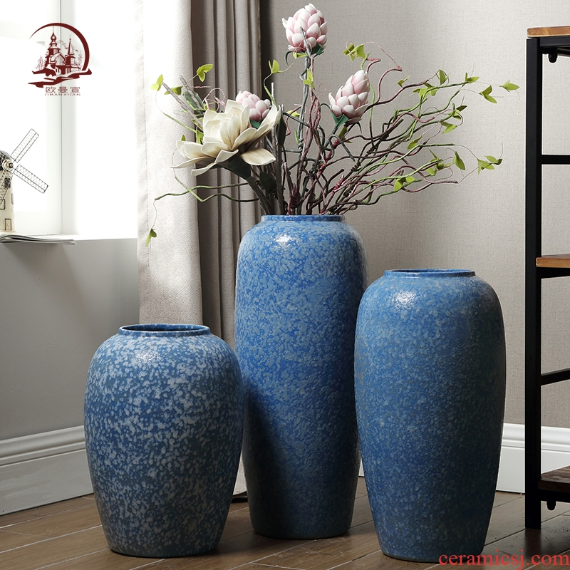 Jingdezhen coarse pottery vase yard landing mall flower arrangement, the sitting room porch TV ark, home decoration furnishing articles
