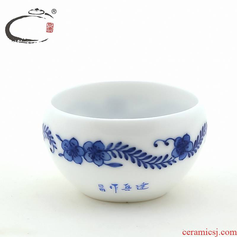 And auspicious jingdezhen hand - made tea cup sample tea cup blue And white porcelain bowl with by round cup