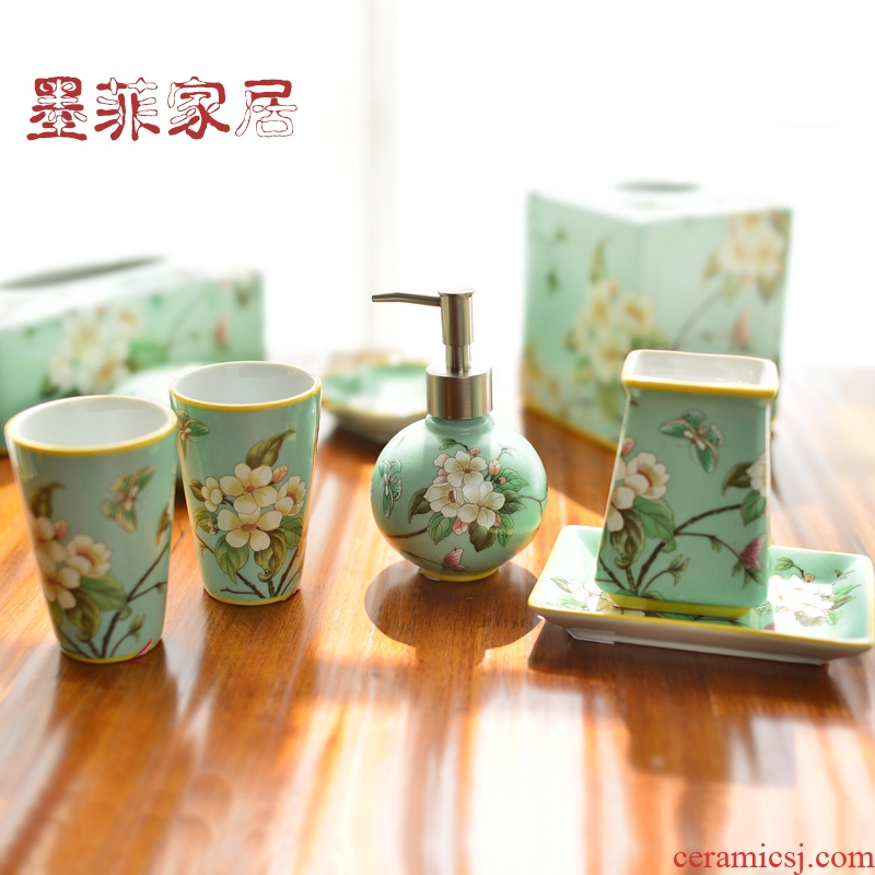 New Chinese style set ceramic sanitary ware has five furnishing articles bathroom toiletries version into gifts home decoration decoration