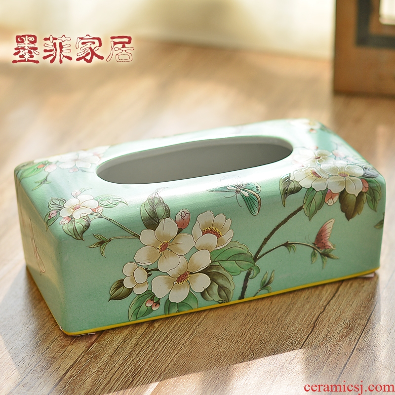New Chinese style restoring ancient ways ceramic tissue box home sitting room tea table restaurant bedroom place napkins American smoke box