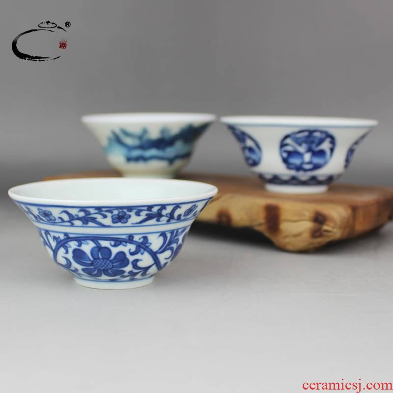 And auspicious jing DE up jingdezhen blue And white tie chrysanthemums cup hand - made ceramic kung fu tea cups sample tea cup