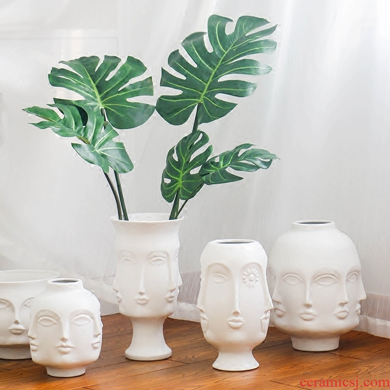 Nordic Muse white porcelain face vase modern ins creative flower arranging the sitting room, home furnishing articles