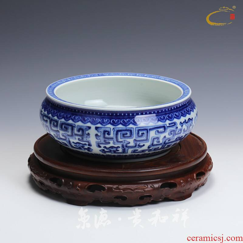 Beijing DE tea ware and auspicious jingdezhen ceramics by hand wash to kung fu tea tea accessories of blue and white peach tea