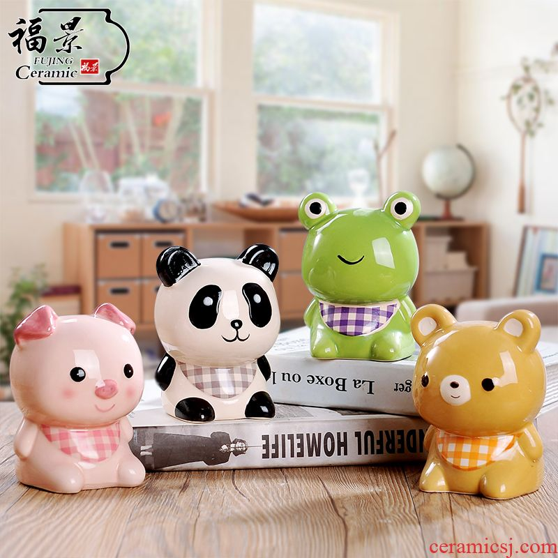 The creative scene cartoon ceramic express little animal piggy bank fashion to difference birthday gifts piggy bank small gifts