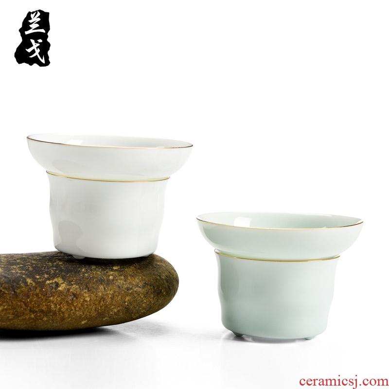 Having dehua white porcelain tea filter tian jade ceramic) kung fu tea set with parts to filter the tea tea strainer