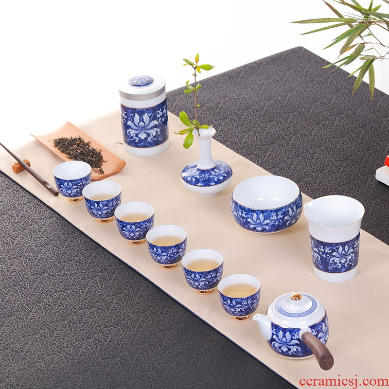 Jingdezhen blue and white kung fu tea set household glass ceramic teapot with caddy fixings vase gift box