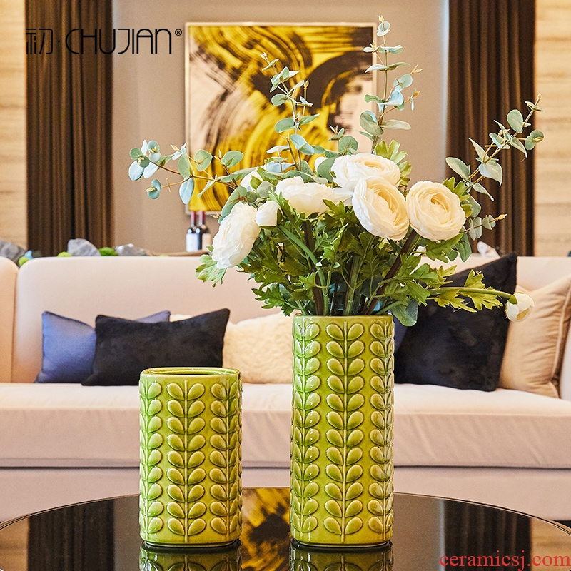 American pastoral leaf vase creative ceramic furnishing articles sitting room TV ark of soft adornment flower decoration indoor decoration