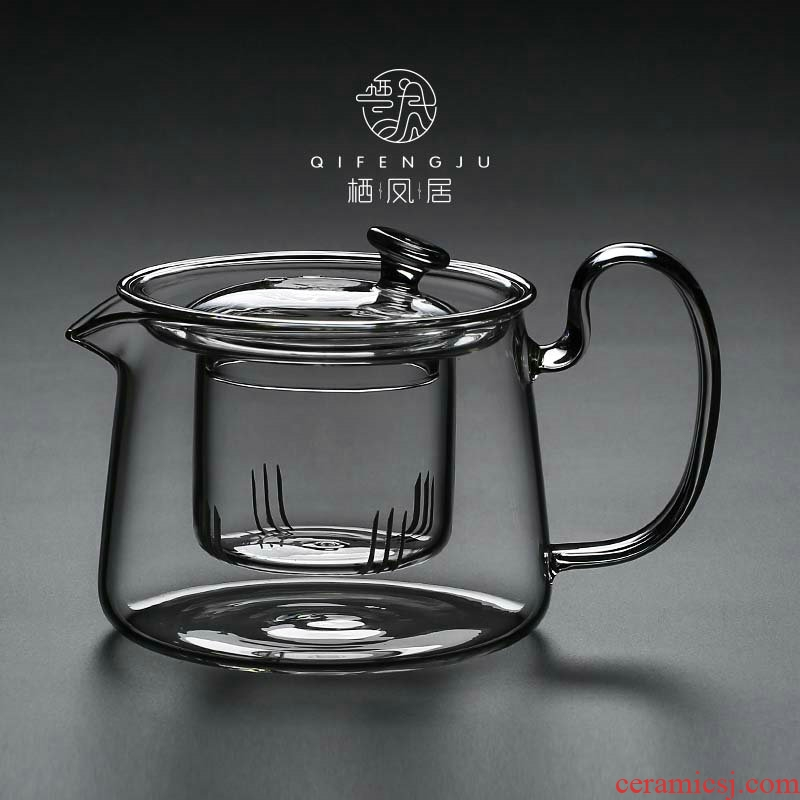 A Live chicken in the heat - resistant glass teapot household high - temperature kung fu tea set electric TaoLu cooking pot filter type teapot