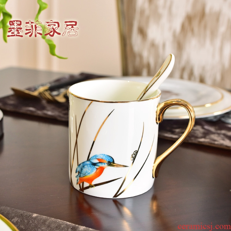 European creative ipads China cups furnishing articles keller with spoon, coffee cup bride wedding gift to send new girlfriends